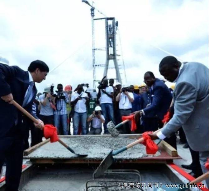 中国路桥承建刚果(布)首都沿河大道斜拉桥合龙